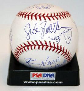Shawn-Michaels-Bret-Hart-Nash-Slaughter-Baseball-Signed-by-9-WWE-WWF-PSA-DNA-LOA