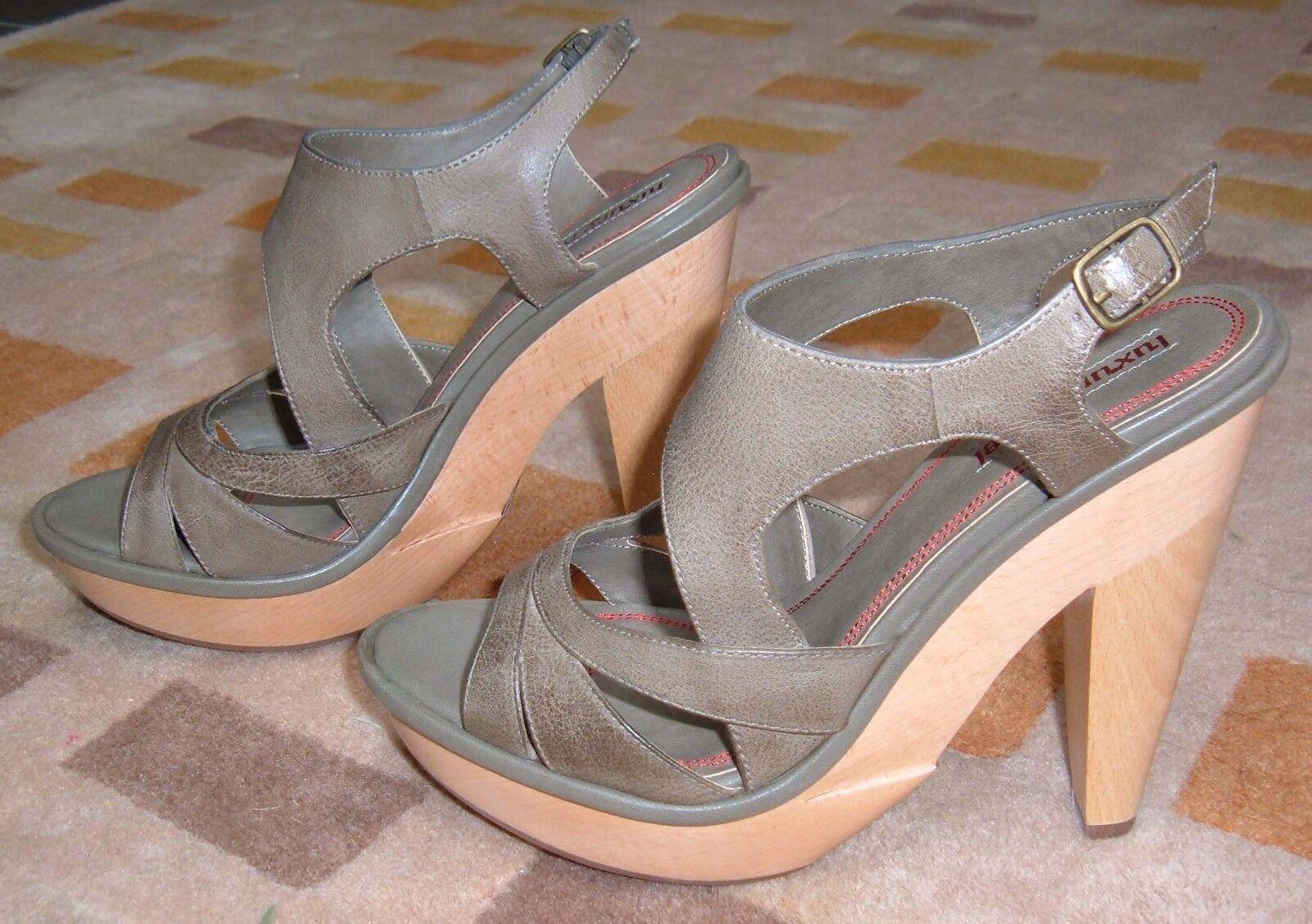 Luxury Rebel Nadia olive high heel platform sandals sandals sandals GILT 8 38.5 NIB a81425