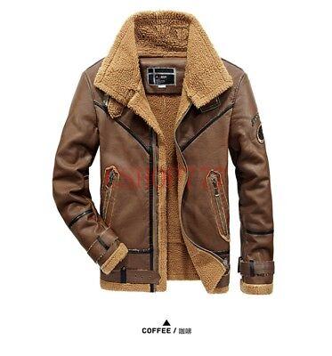 Mens Lapel Collar Western Fleece Lining Winter Jacket Leather Belt Buckle Coats