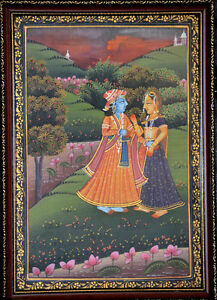 Original-framed-miniature-painting-of-King-Queen-on-silk-cloth-natural-colors