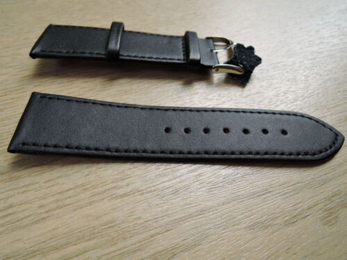 Leder Uhrenarmband schwarz 24mm  b11