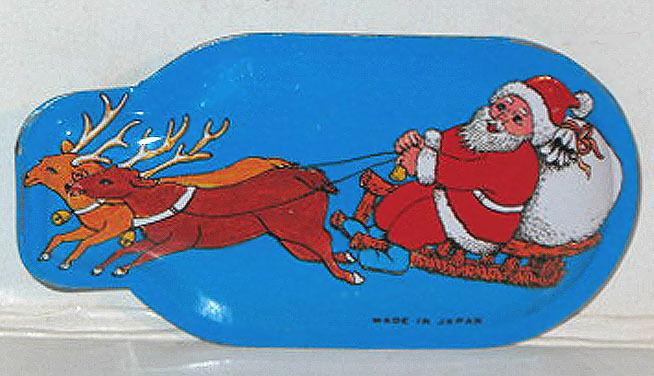 Raro 1950 Lata Litografiada Clicker Juguete Noisemaker Santa & Reno Claus Japón
