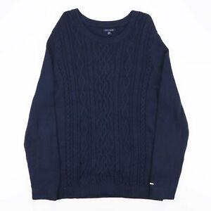 Vintage Tommy Hilfger dunkelblau Zopfmuster Baumwolle Pullover Herren Größe XL
