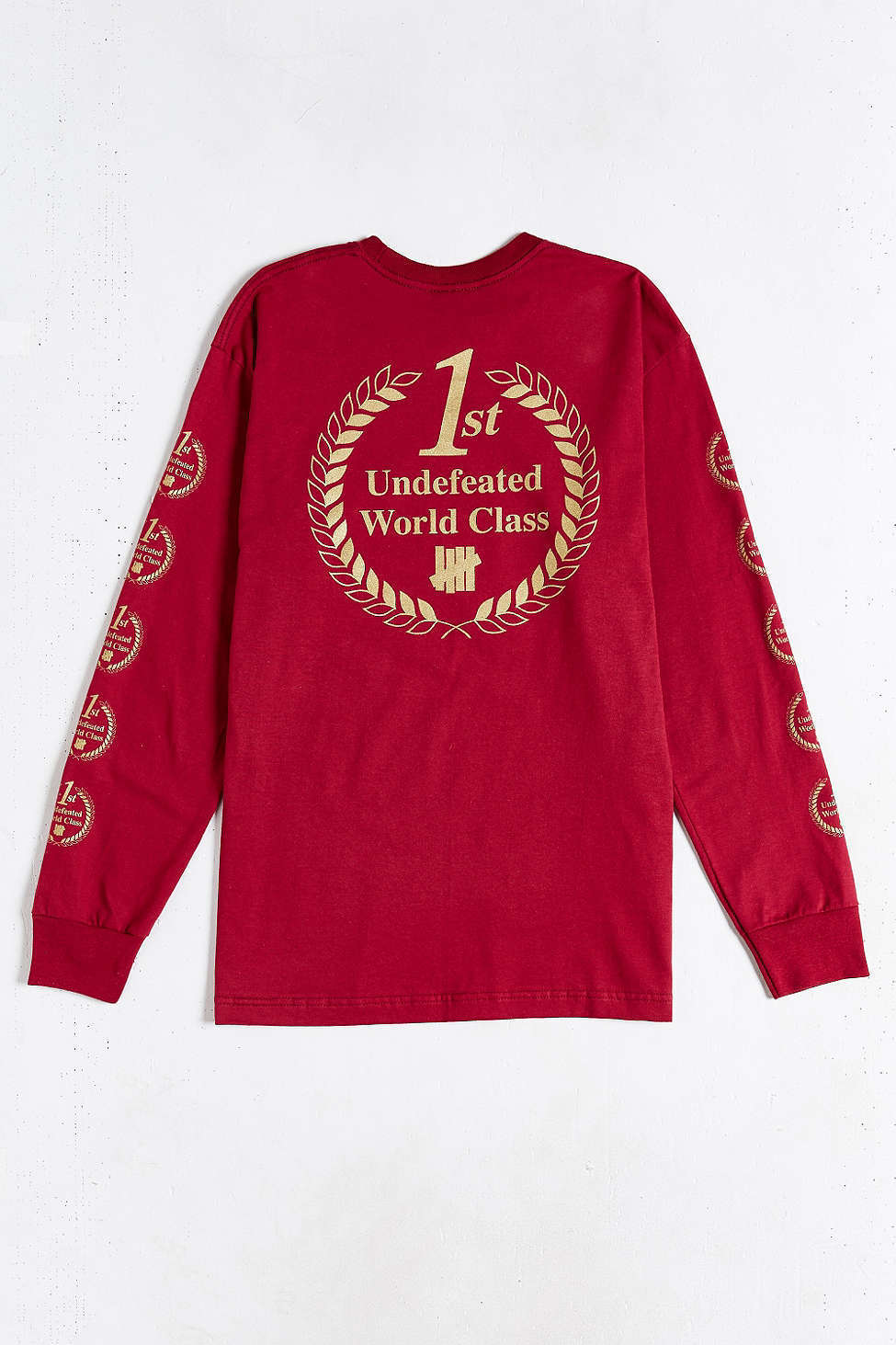 Undefeated 1st World Class L S Tee Shirt Large Dark Red Burgundy golden Print DS