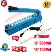 200 300 400mm Impulse Heat Sealer Electric Plastic Poly Bag Sealing Machine US H