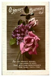 Antique-RPPC-real-photograph-postcard-card-A-Merry-Birthday-roses-flowers