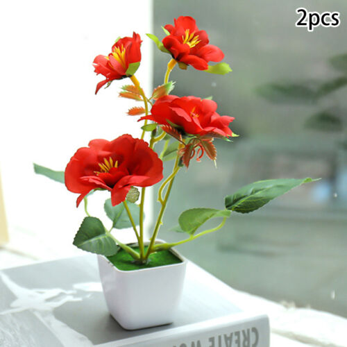Outdoor Flower Fake Plants Flowers Artificial With Pot For Home Garden Decor New