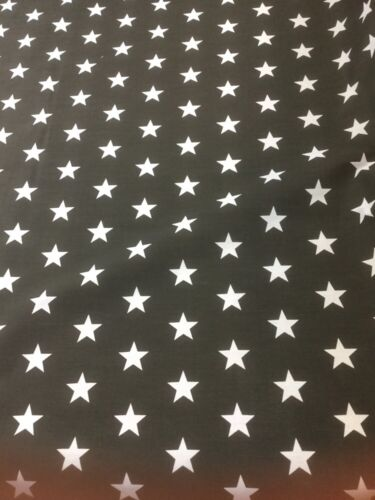 PolyCotton Black With Stars Craft Fabric By The Metre