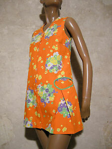 '70 Kleid Mini 36 Vestito Chic Vintage Retrò 1970 Pop Abito 70s 8wHxq0O5