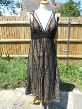 Fab Ronit Zilkha Leopard Print dress with soft black mesh beaded cover Size 12