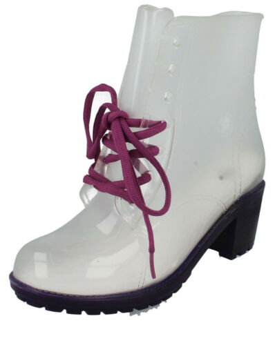 6B Spot On F5R0194 Ladies Festival Wellies Purple//Clear