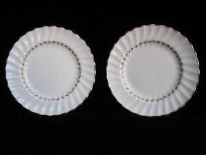 Vintage-Royal-Doulton-Fine-Bone-China-ADRIAN-Pair-6-5-034-Plates-white-gilt-gold