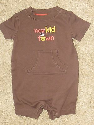 "GYMBOREE SPRING SMILES BROWN /""New Kid In Town/"" ONE PIECE 6 12 18 NWT"