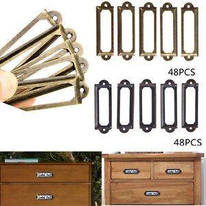 48pcs-Antique-Brass-Drawer-Label-Pull-Frame-Handle-File-Tag-Name-Card-Holder-fr