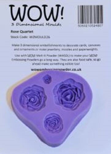 Wow 3 DIMENSIONAL Moulds ROSE QUARTET Food Safe Jewellery WZMOULD26
