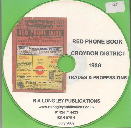Croydon Red Phone Book 1936 CD