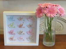 Handmade wall hanging picture shabby chic BIRDS in 3d box frame the perfect gift