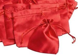 Bolsas De Tela 6 Saquito Por Mismo Rellenar Satinado Rojo Advento