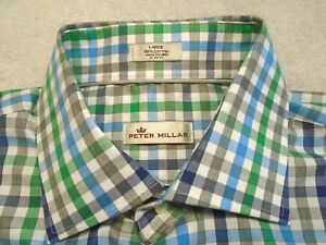 Peter-Millar-Cotton-Blue-Green-Grey-Gingham-Check-Sport-Shirt-NWT-Large-145