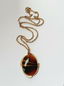 """Vintage 24.5""""  Gold Tone Sarah Coventry Oval Glass Necklace"""