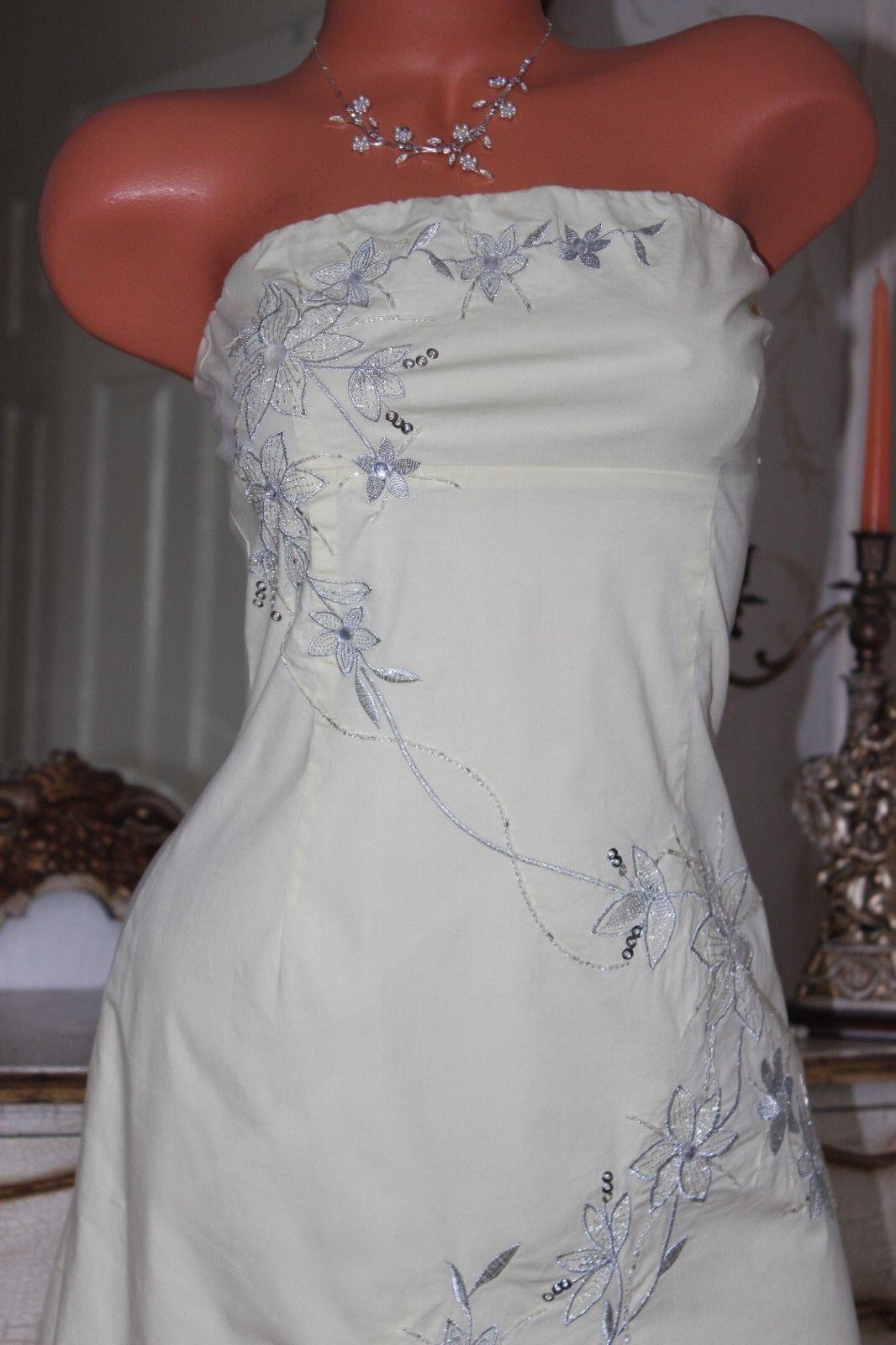 JANE JANE JANE NORMAN Lemon Cotton   Elastane Embroidered Calf Length Dress size 12 3562c0