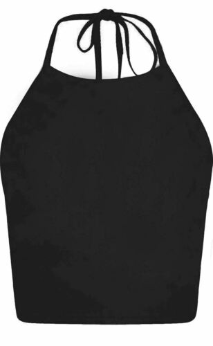New Ladies Plain Tie Up Halter Neck Sleeveless Crop Top TShirt Top off shoulder