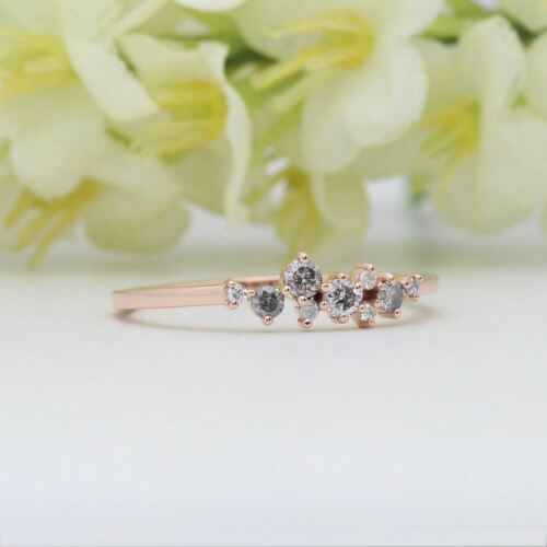 Details about  /Salt And Pepper Round Diamond 14K Solid Rose Gold Ring Engagement Gift Ring GR06