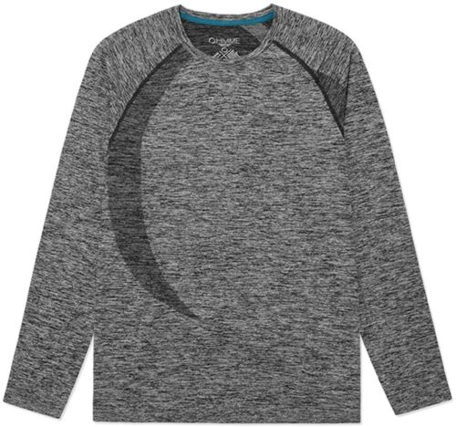 Ohmme Orion Mens Long Sleeve Top Grey Eco Friendly Gym Training Workout Yoga
