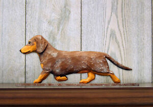 Dachshund Long Hair Sign Plaque Wall Decor Red