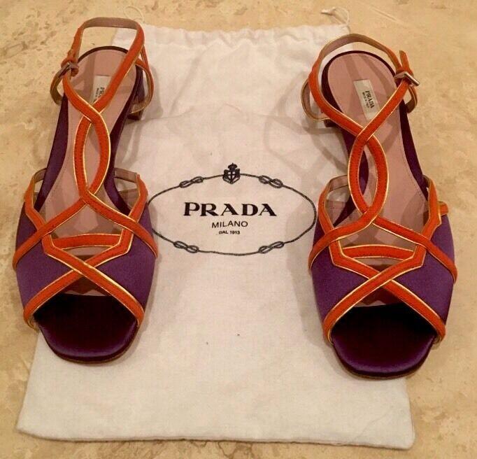 Prada púrpura satén Naranja De oro De Cuero Con Tiras Tiras Tiras De Sandalia Usado 1x Talla 38.5 8.5 M Italia  envío gratuito a nivel mundial