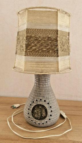 Carino Lampada Accolay Ceramica Effetto Cristalli IN Paralume IN Lana Vintage