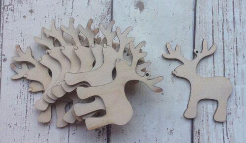 Pack of ten laser cut Italian poplarwood cute Christmas Santa reindeer unpainted