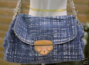 1c4f58545ec923 PRADA TELA Light Blue Tweed Flap Front Chain Link Shoulder Bag $1350 ...