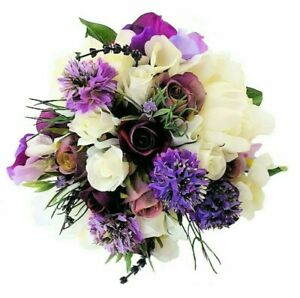 Silk-Bridesmaids-Bouquet-Peony-Lavender-Rosebuds-with-Buttonhole-Wedding-Flowers