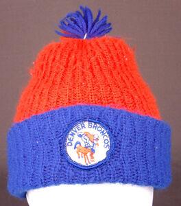 a700407c476 Vtg Denver Broncos Winter Hat-Pom Pom-Orange Blue-NFL-Beanie-Patch ...