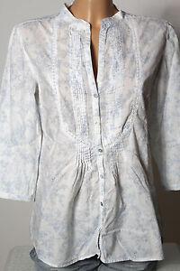 ZARA-Bluse-Gr-S-M-weiss-Baumwolle-3-4-Arm-A-Linie-Bluse-mit-blauen-Bluemchen
