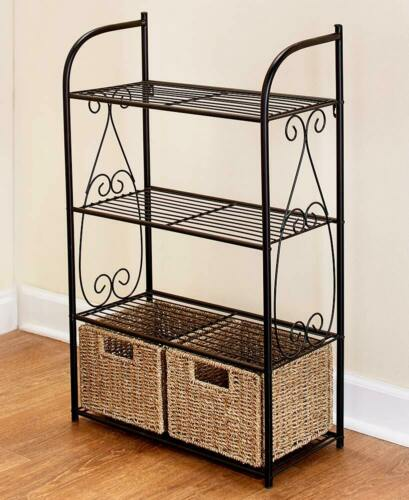 Seagrass Linen Shelving Unit Rack Towel Holder w// Baskets Bathroom Bath Storage