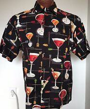 Fivecrown Easy Livin' Original Hawaiian Aloha Shirt Black Martini Cocktail M USA