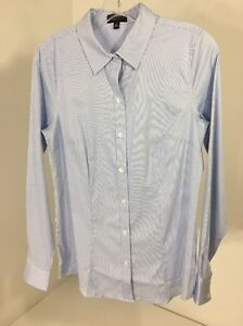 6478a40d THE LIMITED WOMEN'S PINSTRIPE BUTTON UP LONG SLEEVE LIGHT BLUE/WHITE ...