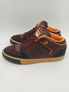 Adidas-Culver-Vulc-Mid-Shoes-Maroon-Black-Orange-Mens-Size-9-Suede