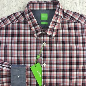 HUGO-BOSS-Men-039-s-L-S-Shirt-XL-X-Large-Modern-Fit-Red-Black-Plaid-NWT-145-New