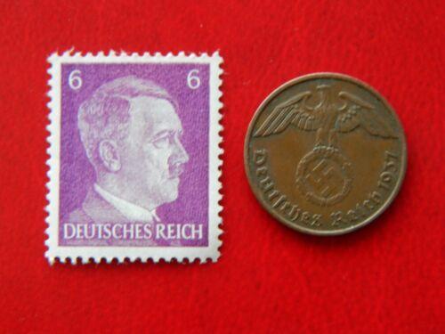 Stamp WW2 1 Reichspfennig 1937-1939 Coin wth SWASTIKA #11