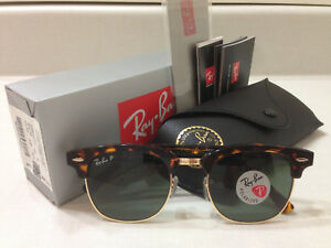b0a5ee3ac8 Image is loading Ray-Ban-Clubmaster-Sunglasses-POLARIZED-Green-Lens-Tortoise -