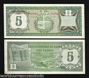 Image Is Loading Aruba 5 Florin P1 1986 First Note Unc