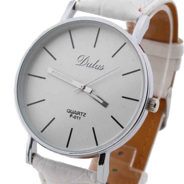 Fashion Classic Women Lady Leather Band Quartz Analog Wrist Watch White Dial