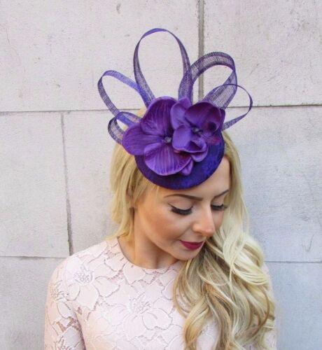 Purple Orchid Flower Pillbox Hat Statement Fascinator Hair Clip Races Vtg 4456