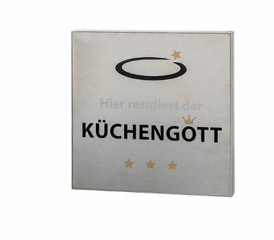 """50213 Wandschild /""""Küchengott/""""   Edelstahl  mit aufgedrucktem Schriftzug"""