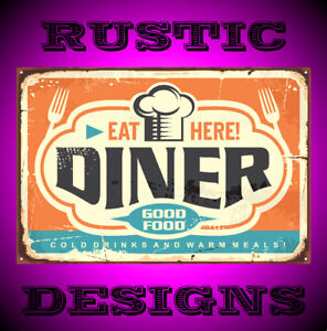 Retro diner restaurant sign with chef hat forks sign man woman cave pub 9662