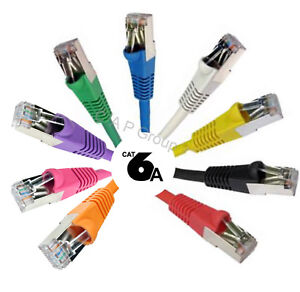 TOP-SPEC-RJ45-Cat6a-Ethernet-Network-Cable-Snagless-Shielded-Lead-FAST-10Gb-LOT