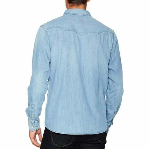 Mens Wrangler New Authentic Western Denim Shirt Mid Indigo Stonewash BNWT